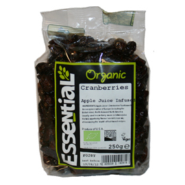 Essential Apple Juice Infused Organic Cranberries. 250g
