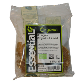 Essential Organic Crystallised Ginger with Raw Cane Sugar 125g