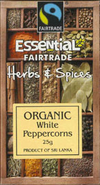 Essential Fair Trade Organic White Peppercorns 25g