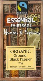 Essential Fair Trade Organic Ground Black Pepper 25g