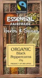Essential Fair Trade Organic Black Peppercorns 25g