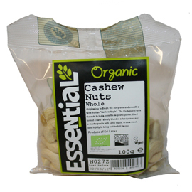 Essenial Organic Whole Cashews 100g